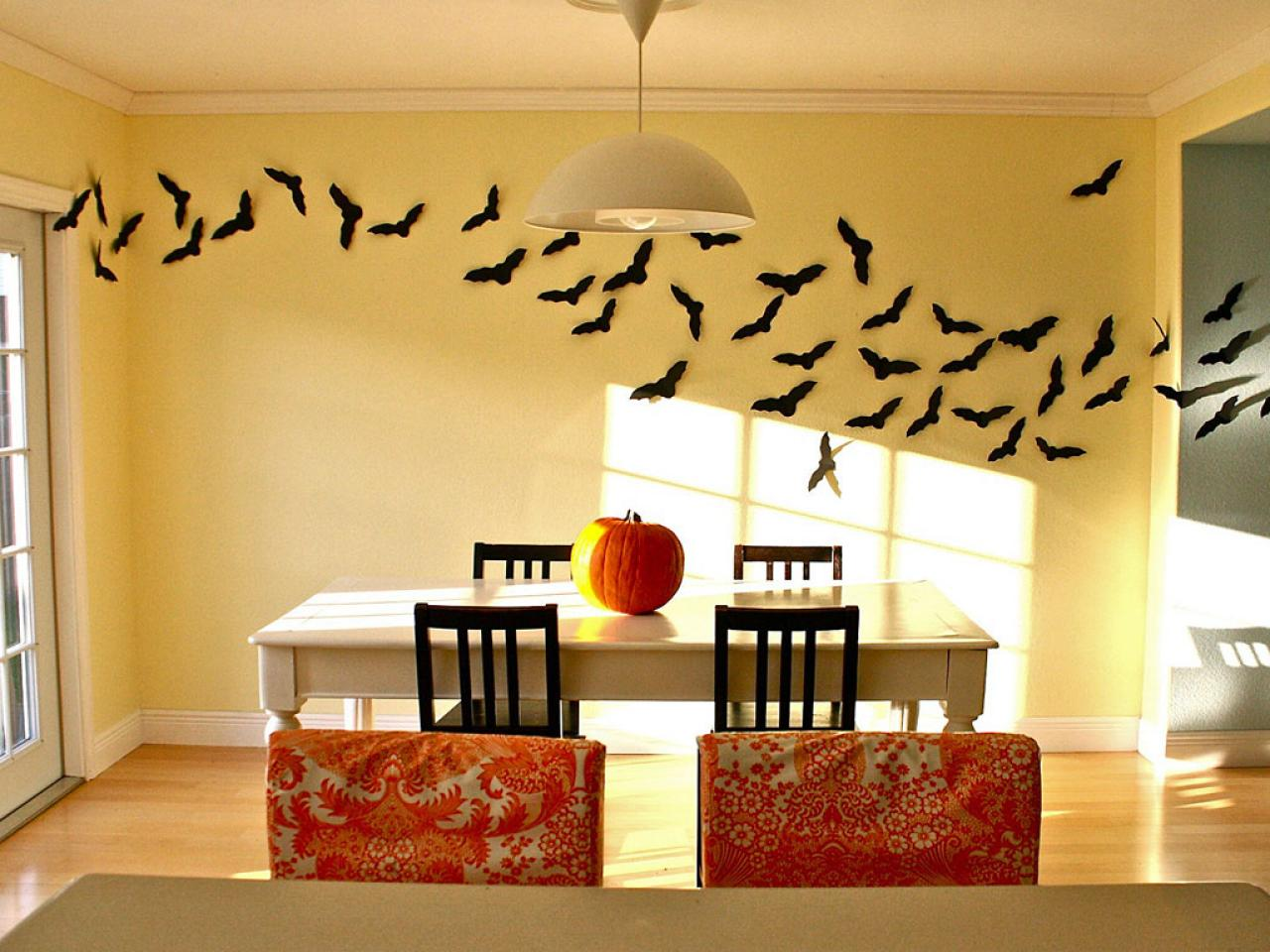 Wall décor with black bat paper cuts