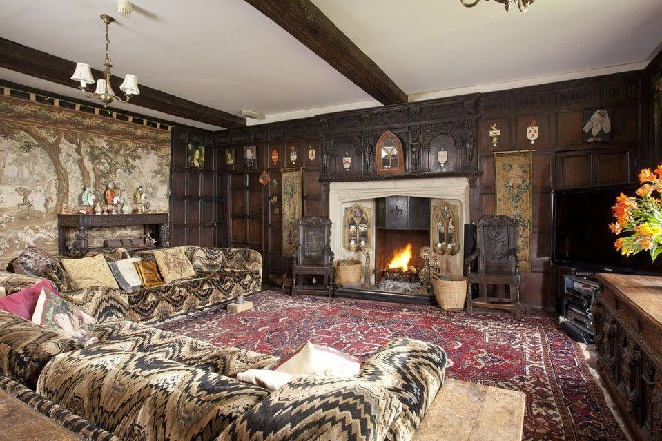 fireplace at tudor house